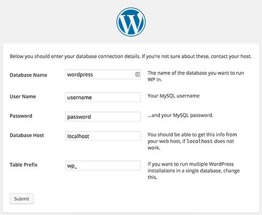 WordPress tạo tập tin wp-config.php trong quá trình cài đặt