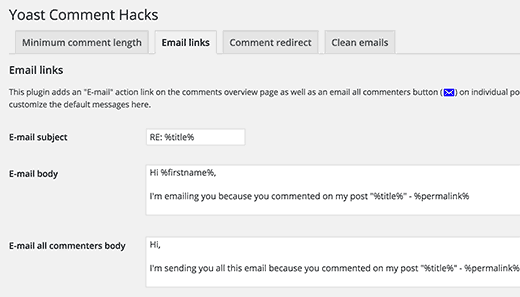 Email Links settings in Yoast Comment Hacks