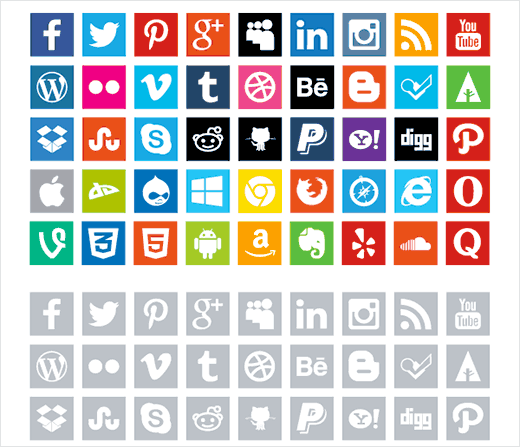 Free flat social media icons by Enfuzed