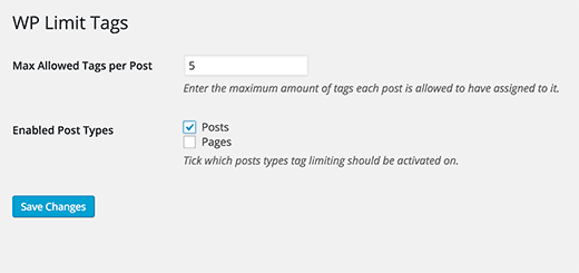 WP Limit Tags plugin settings