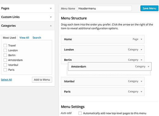 Sắp xếp lại các mục menu trong WordPress