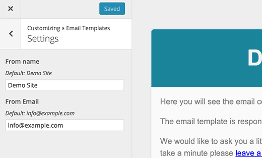 General settings for your email template