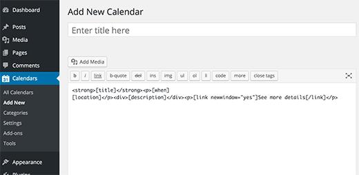 Adding new calendar in WordPress