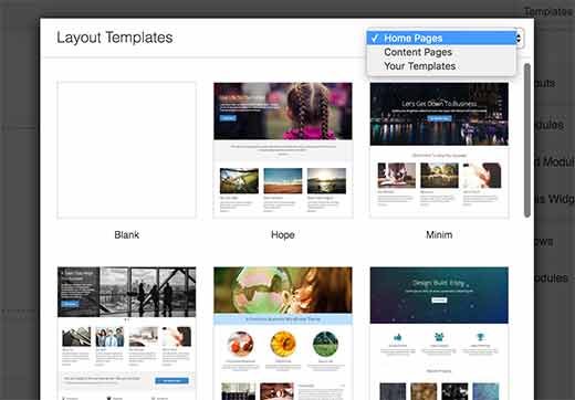 Choose a template for your page layout