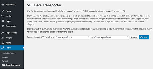 Transferring SEO settings
