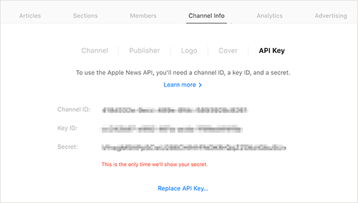 Apple news API keys