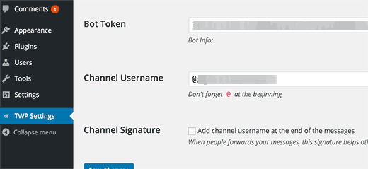 Channel settings in Telegram for WordPress plugin