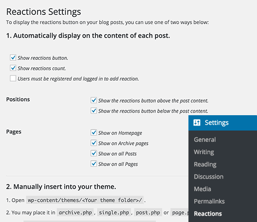 Reactions Settings