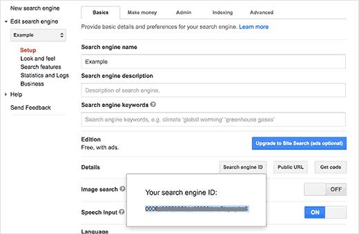 Salin ID mesin telusur khusus Google Anda