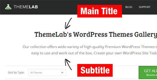 A WordPress page with a title and subtitle