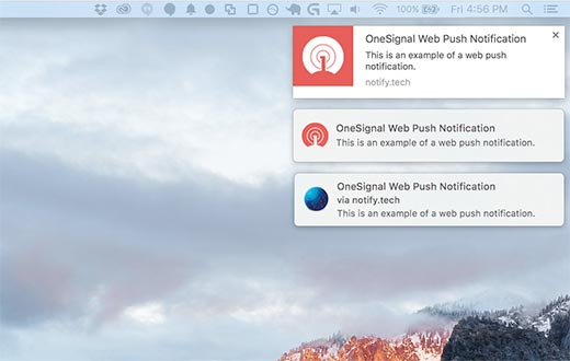 Web push notifications displayed on Desktop with Google Chrome, Firefox, and Safari web browsers