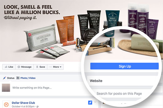 Call to action button on a Facebook business page