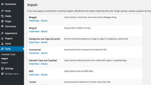 Import screen in WordPress 4.6