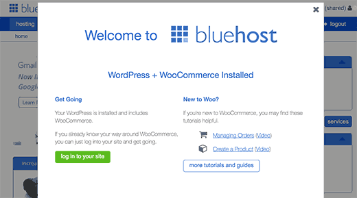 Bluehost first login