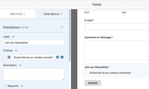 Hộp kiểm đồng ý email