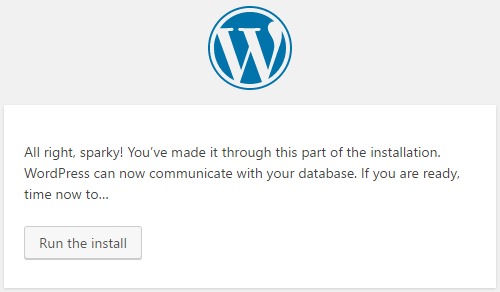 now you can run the WordPress install on Windows
