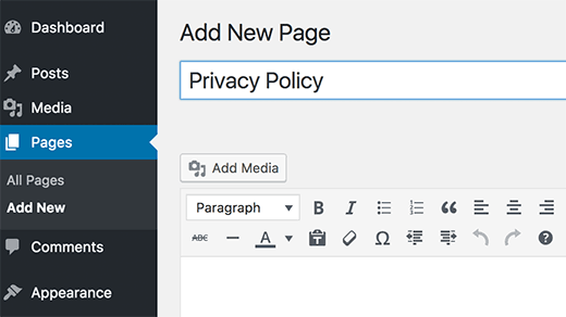 Creating a new privacy policy page in WordPress