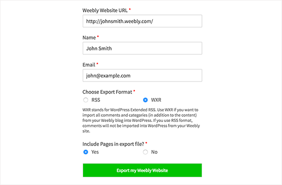 Weebly to WordPress Importer