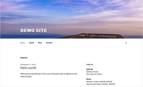 Header image in WordPress