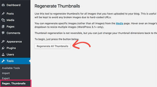Regenerate image sizes in WordPress