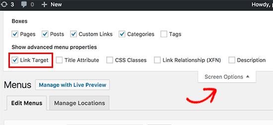 Link target option in navigation menu screen