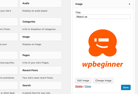 Image widget preview