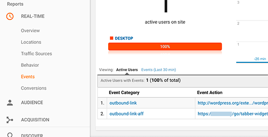 Viewing outbound link reports in real time