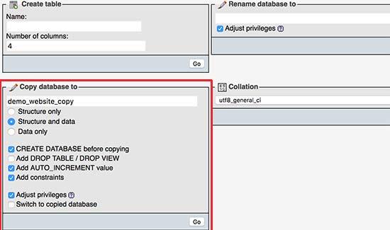 Copy database