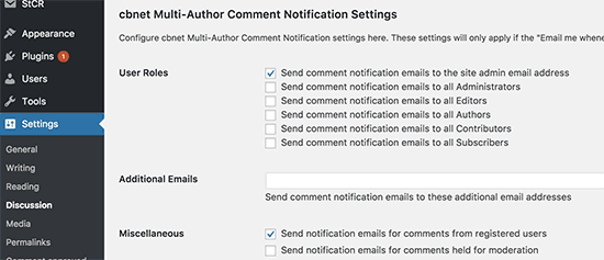 Multi author comment notification settings