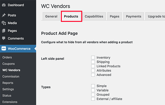 Configure products settings for vendors