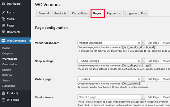 Setting up vendor pages