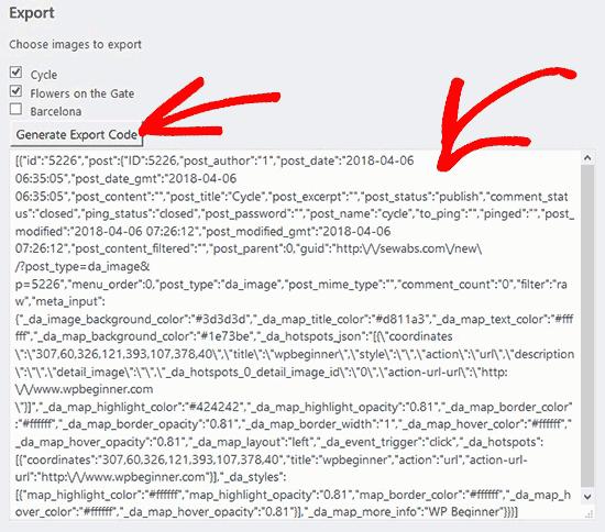 Export Code Interactive Images