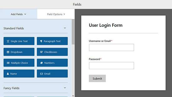 Login form template