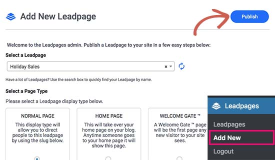 Publish your landing page to WordPress