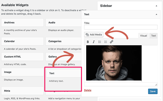 Add an image in WordPress sidebar using Text widget