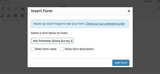 Select survey form