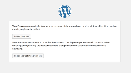 Optimize and repair WordPress database