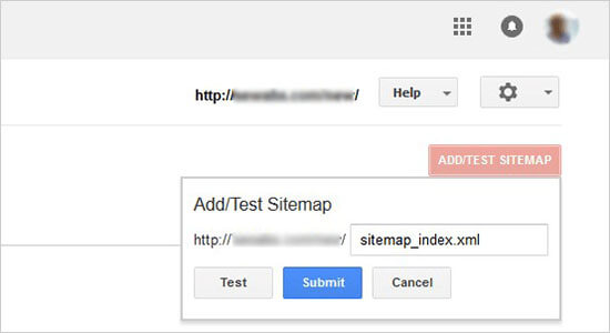 Verzend sitemaps URL