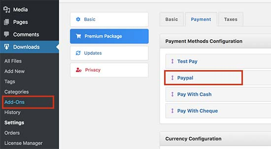 Configure payment settings