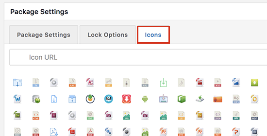 Select icon to display next to your file download