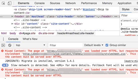 Using inspect tool to locate mixed content errors
