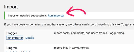 Jalankan importir Blogger