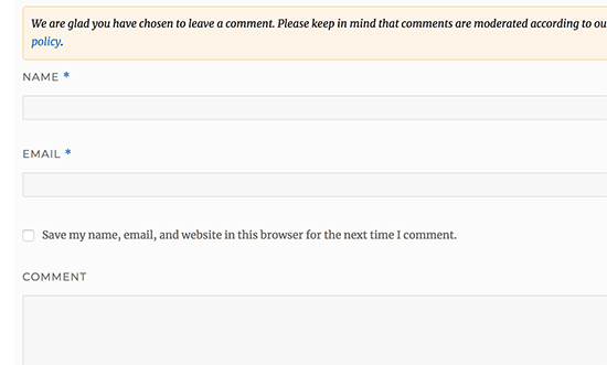 Remove URL field from comment form