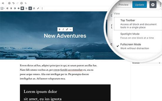 Fullscreen mode in new WordPress editor