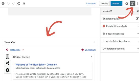 Yoast SEO settings in new Gutenberg editor