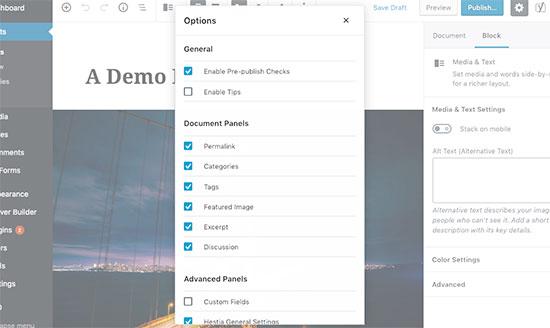 Toon of verberg panelen uit het berichtbewerkingsscherm