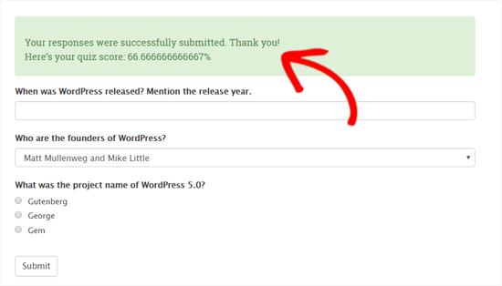 Quiz Score Displayed in WordPress