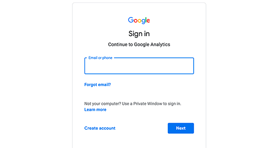 Sign in or create a new Google account