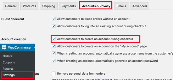 Allow customers to create an account in WooCommerce