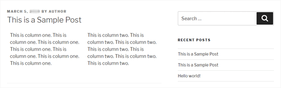 Two WordPresss Columns in Twenty Seventeen Theme